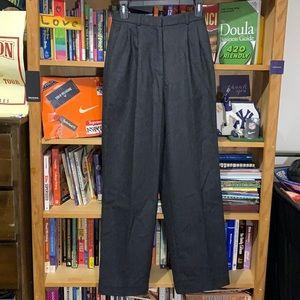 J.CREW-women's dark gray wool pleated dress pants